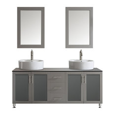 "Tuscany 72"" Double Vanity, Grey with White Vessel Sink, Mirror Included"
