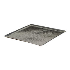 "15"" Square Hammered Aluminum Tray"