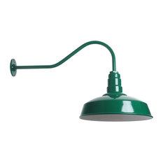 Barn Lighting Gooseneck Fixture - The Gardena Barn Light, Green, Standard - No B