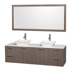 "Amare 72"" Double Vanity Gray Oak, White Stone Top, Pyra White Porcelain Sink"