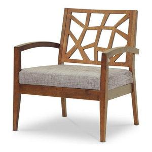 "Baxton Studio Jennifer Modern Lounge Chair With ""Gravel"" Fabric Seat"
