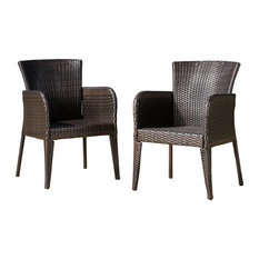 GDFStudio - Seawall Outdoor Wicker Dining Chairs, Set of 2 - Outdoor Dining Chairs