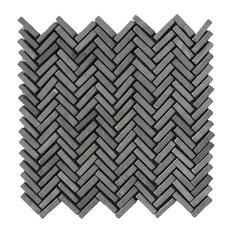 "12""x12"" Black Chevron Stone Mosaic Tile"