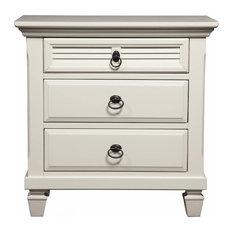 3-Drawer Nightstand, White