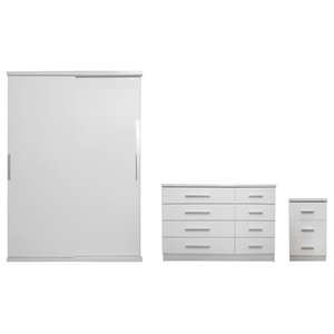 Torino Plain Furniture Set, White and White Oak