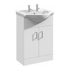 Floor Standing Vanity Unit and Basin, Classic White Ceramic with Inner Shelf