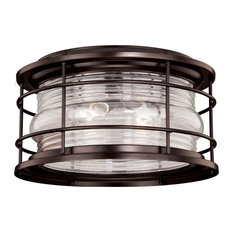 Hyannis Bronze Coastal Round Outdoor Flush Mount Ceiling Light Clear Glass