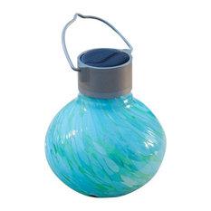 Allsop Home & Garden - Solar Glass Tea Lantern, Mint - Outdoor Hanging Lights