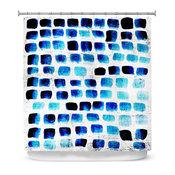 Squares Grunge Shower Curtain