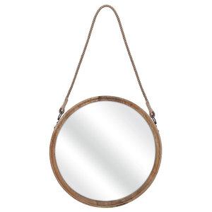 "IMAX Home 71809 Senga 22"" Diameter Circular Flat Wood Framed Accent Mirror"