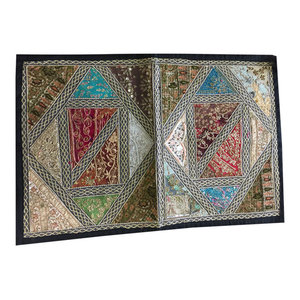 Mogul Interior - Dusky Hues Tapestry Runner Vintage Patchwork Embroidered Sequin Wall Throw - Tapestries