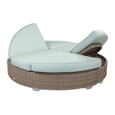 Palisades Round Double Chaise With Sunbrella Cushions, Gray With White