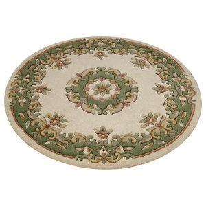 Mahal Round Rug, Cream and Green, 120 cm Round