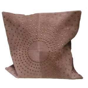 Pachyderme Studded Suede Cushion Cover, Beige