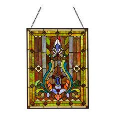"""24.75"""" Stained Glass Fleur de Lis Window Panel, Multicolor"""