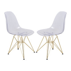 LeisureMod Cresco Eiffel Base Molded Dining Chair, Gold Base, Set of 2, Clear