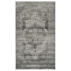 Chloe Vintage-Inspired Light Grey Area Rug, 100x170 cm