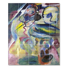 "Wassily Kandinsky Abstract Painting Ceramic Tile Mural #56, 21.25""x25.5"""