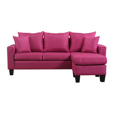 Divano Roma Furniture - Modern Linen Fabric Small Space Sectional Sofa with Reversible Chaise Red  sc 1 st  Houzz : modern sofa sectionals - Sectionals, Sofas & Couches