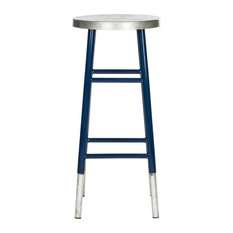 Kenzie 30-inch Silver Dipped Barstool Navy