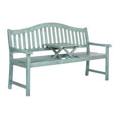 Safavieh   Safavieh Griffin Outdoor Bench, Coastal Blue, Large   Garden  Benches
