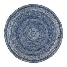 Epona Round Braided Area Rug, Blue, 4'