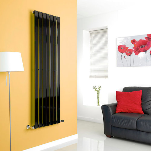Milano Alpha Black Vertical Designer Radiator 1600mm X 490mm   Radiators