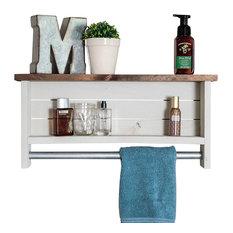 Bathroom Shelf With Towel Bar, Whitewash