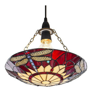 Traditional Red Dragonfly Tiffany Glass Easy Fit Pendant Shade