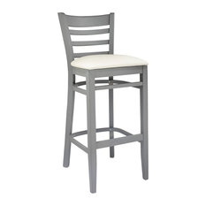 Ladderback Barstool Grey With Cream Seat