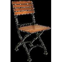 French Cafe Bistro Folding Side Chair, Set of 2, Black Frame, Chestnut Slat