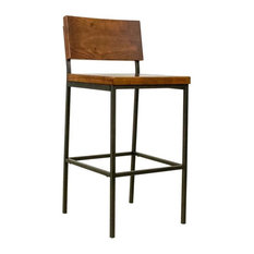 "Progressive Sawyer 30"" Wood Metal Bar Stool in Java Pine"