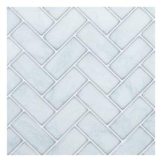 "10x10"" Herringbone Peel and Stick Wall Tile, Light Blue, Set of 6"