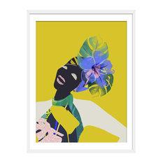 """Ayo"" Tropical Art Print, White Framed, 40x50 cm"