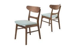 Helen Mid Century Dining Chair, Mint/Walnut, Set of 2