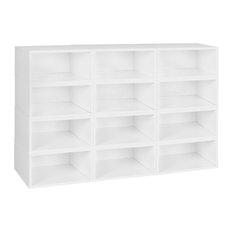Niche Cubo Storage Set, 12 Half Size Cubes, White Wood Grain