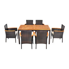 Costway 7PCS Patio Rattan Dining Set Armrest Cushioned Chair Wooden Tabletop