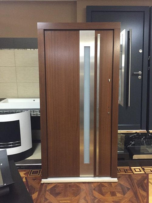 Model 029 modern walnut finish wood front entry door w for Exterior doors w glass