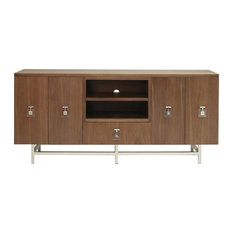 Worlds Away Ash Wood Media Console With Nickel Base