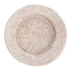 White Rattan Round Chargers, S/4
