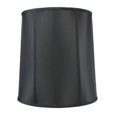 "Shantung Drum Deluxe Lamp Shade 14""x16""x17"", Black"