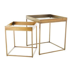 2-Piece Luxe Gold Brass Square Nesting Table Set, Simple Minimalist Accent Metal