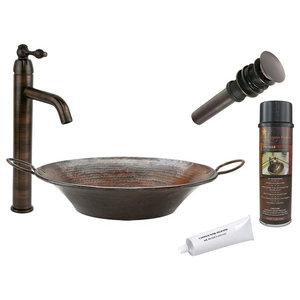 Premier Copper Products, BSP1_VR16MPDB Vessel Sink, Faucet, Accessories Package