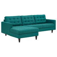 Empress Left-Facing Upholstered Fabric Sectional Sofa, Teal
