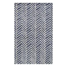nuLOOM Hand-Tufted Viga Chevron Wool Area Rug, Denim, 9'x12'