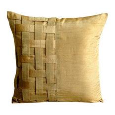 Gold Decorative Cushion Cover, 55x55 Silk Cushion Cover, Gold Brown Bricks