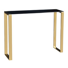 Cortesi Home Remini Narrow Contemporary Glass Console Table In Polished Gold Fin