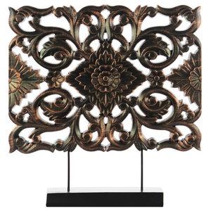 Wood Wide Rectangular Filigree Ornament on Rectangular Stand, Bronze
