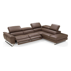 Natalia Sectional - Brown Full Grain Italian Leather Right Facing