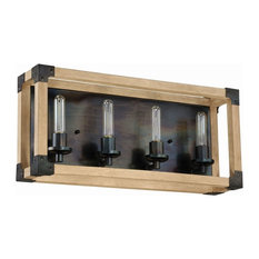Cubic 4-Light Bath Vanity, Fired Steel/Natural Wood